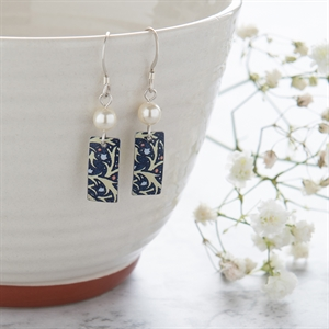 Picture of Midnight Floral Rectangle & Pearl Earrings