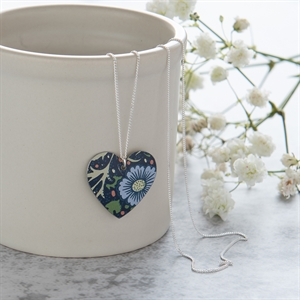 Picture of Midnight Floral Round Heart Necklace