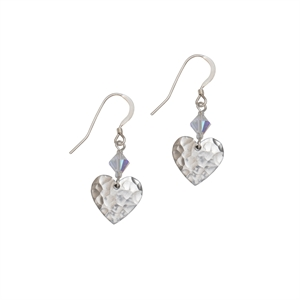 Picture of Eco Aluminium Hammered Small Heart Earrings with Crystal