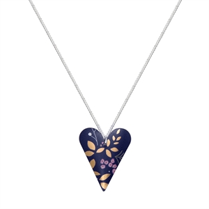 Picture of  Kyoto Garden Blue Purple Slim Heart Necklace