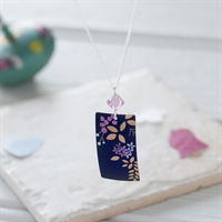 Picture of Kyoto Garden Blue Purple Rectangle Necklace