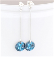 Picture of Damask Blue Round Long Drop Earrings