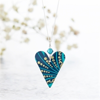 Picture of Turquoise Plume Heart & Crystal Necklace