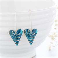 Picture of Turquoise Plume Medium Heart Earrings Long