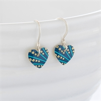 Picture of Turquoise Plume Small Round Heart Earrings