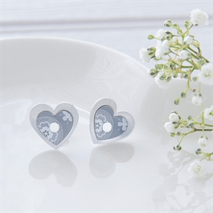 Picture of Grey Double Round Heart Studs