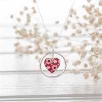 Picture of Daisy Heart Necklace Red & White - COL (L) Plain