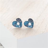 Picture of Damask Blue Heart Studs