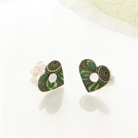 Picture of Damask Green Heart Studs