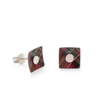 Picture of Red Tartan Square Studs