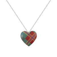 Picture of Red Green Tartan Round Heart Necklace