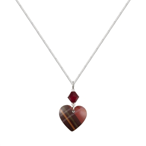 Picture of Red Tartan Small Heart & Crystal Necklace