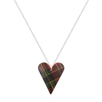 Picture of Red Tartan Medium Slim Heart Necklace