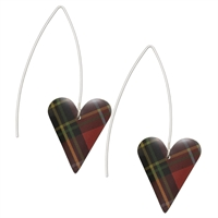 Picture of Red Tartan Long Medium Heart Earrings