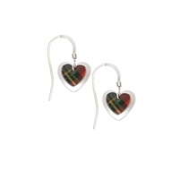 Picture of Red Double Heart Tartan Earrings