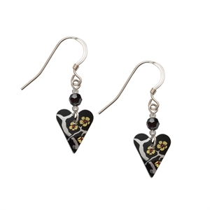 Picture of Willow Slim Heart Earrings & Crystal