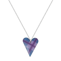 Picture of Blue Tartan Medium Slim Heart Necklace