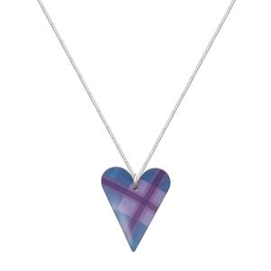 Picture of Blue Tartan Medium Slim Heart Necklace