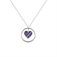 Picture of Blue Tartan Circle of Life Heart Pendant