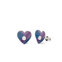 Picture of Blue Tartan Heart Studs in a Tin