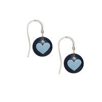 Picture of Ava Disc Earrings with Blue Heart Print