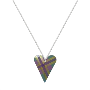 Picture of Green Tartan Medium Slim Heart Necklace