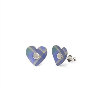 Picture of Green Tartan Heart Studs