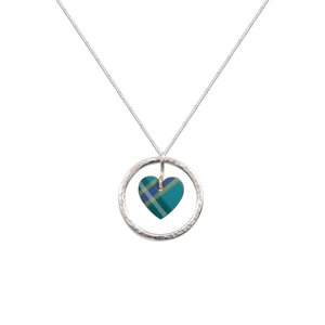 Picture of Green Tartan Circle of Life Heart Pendant