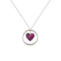 Picture of NEW Purple Tartan Circle of Life Heart Pendant