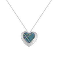 Picture of Green Tartan Double Heart Necklace