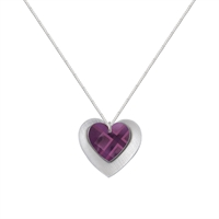 Picture of NEW Purple Tartan Double Heart Necklace