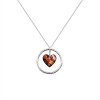 Picture of Red Tartan Circle of Life Heart Pendant