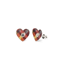 Picture of Red Mix Tartan Heart Studs in a Tin