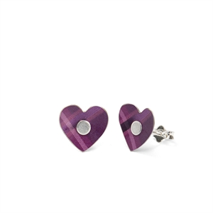 Picture of NEW Purple Tartan Heart Studs in a Tin