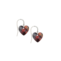 Picture of Red Mix Tartan Small Heart Earrings