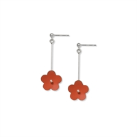 Picture of Long Orange Daisy Earrings