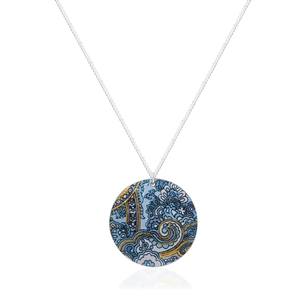 Picture of Blue Damask Disc Pendant