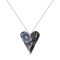 Picture of Midnight Floral Medium Slim Heart Necklace