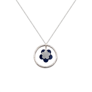 Picture of Daisy Necklace Dark Blue and Silver