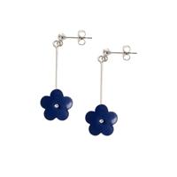 Picture of Long Dark Blue Daisy Earrings
