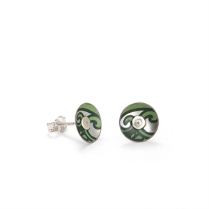 Picture of Nova Green Round Stud Earrings in a Tin