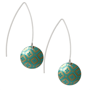 Picture of Kimono Turquoise Round Earrings on Medium Earwires