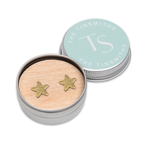 Picture of Upcycled Brass Star Stud Earrings in a Tin