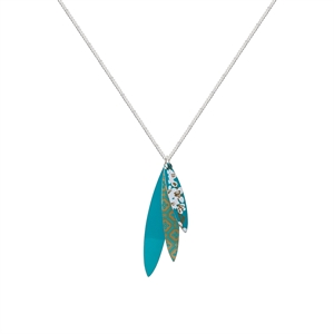 Picture of Kimono Turquoise Triple Leaf Pendant Necklace