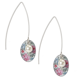 Picture of Daphne Floral Oval & Pearl Earrings Medium Ear Wires