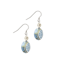 Picture of Daphne Pattern Oval with Pearl Earrings Short Ear Wires